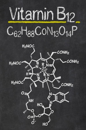 blackboard with the chemical formula of vitamin b12